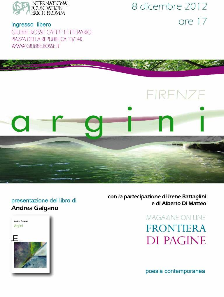 PRESENTAZIONE DELLA SILLOGE POETICA &quot;ARGINI&quot; DI ANDREA GALGANO